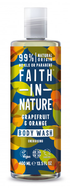 Gel de dus si spuma de baie cu grapefruit si portocala, Faith in Nature, 400 ml