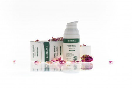 Elixir miraculos anti-age, Time Magic cu apa de trandafiri si acid hialuronic, Biorose, 30 ml