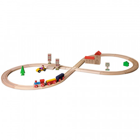 Set din lemn Eichhorn Tren cu sina in forma 8 si accesorii