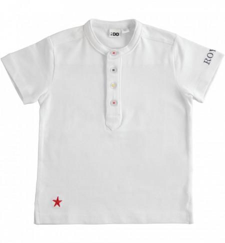 Tricou alb din bumbac cu guler tunica IDO