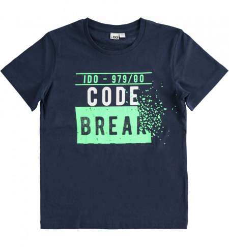 Tricou Bleumarin de adolescenti cu scris verde IDO