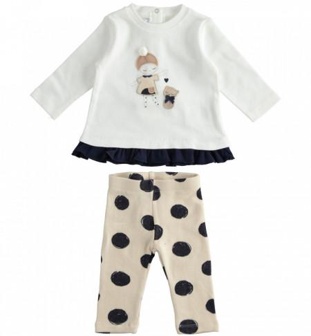 Costum bebe fata cu bluza si colant alb cu bej IDO