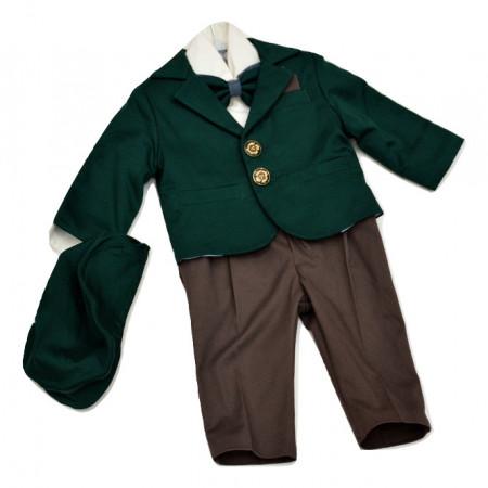 Costum botez, verde cu pantalon maro, 6 piese