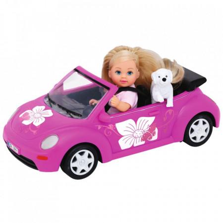 Papusa Simba Evi Love 12 cm Evi's Beetle cu masina, catelus si accesorii