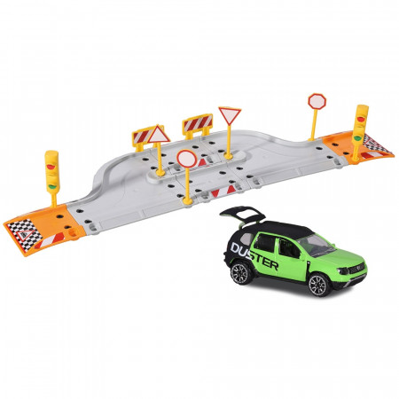 Pista de masini Majorette Creatix Street Set cu 1 Masinuta Dacia Duster