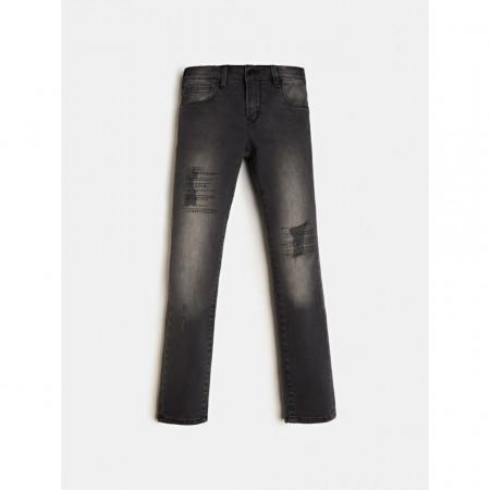 Blue jeans negru skini, cu strasuri pe picior , 96% bumbac, Guess