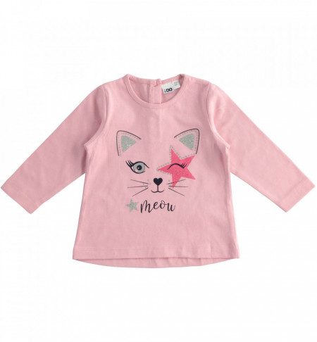 Bluza bebe fetita din bumbac roz IDO