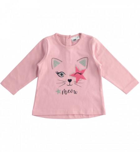 Bluză roz bebe fetiță din bumbac, iDO