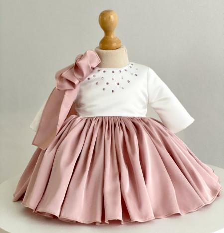 Rochie cu matasica roz prafuit