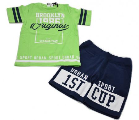 Set tricou verde+ pantalon bleumarin