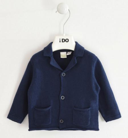 Jachetă bebe băiat nou născut bleumarin cu nasturi, IDO