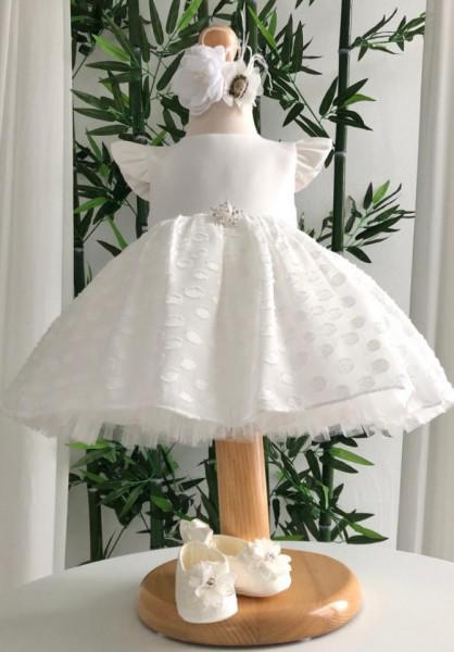Rochiță de botez spectaculoasă cu buline
