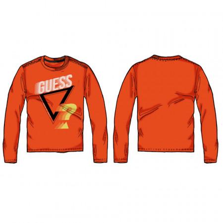 Tricou roșu cu mânecă lungă și logo, bumbac, Guess