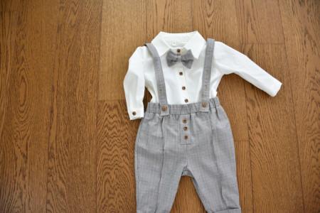 Costum cu pantalon in carouri cu gri si galben regal 4 piese