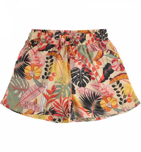 Fusta pantalon din matasica pentru fete cu model floral