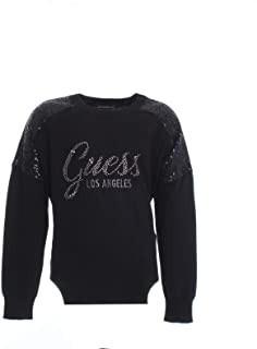 Bluza tricotata din bumbac neagra pentru fete si adolescente Guess