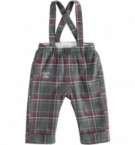 Pantalon cu bretele în carouri pe fond gri, iDO