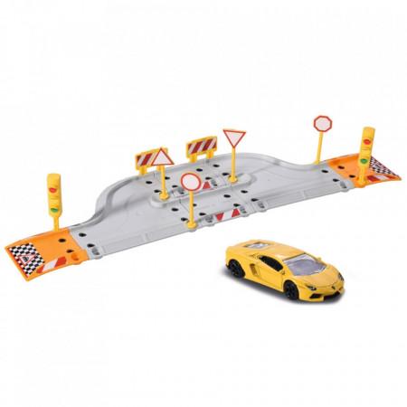 Pista de masini Majorette Creatix Starter Pack cu 1 masinuta Lamborghini