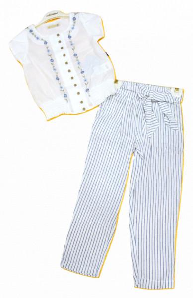 Costum cu ie si pantalon in dungi