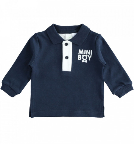 Bluză polo pentru bebe băiat nou născut bleumarin, IDO