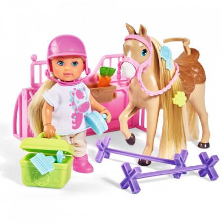 Papusa Simba Evi Love 12 cm Holiday Horse cu calut si accesorii