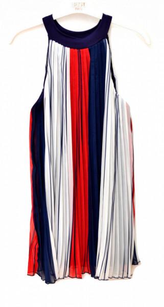 Rochie plisata multicolora din tifon