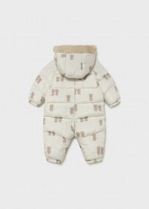 Combinezon ECOFRIENDS alb cu imprimeu pentru nou-născut fată, Mayoral