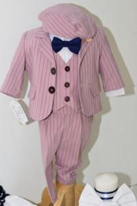 Costum de botez roz prăfuit cu dungi bleumarin de băiat