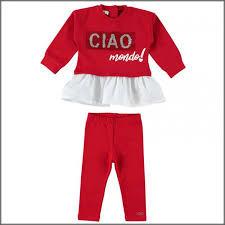 Costum rșsu cu bluză și colant pentru fete, IDO
