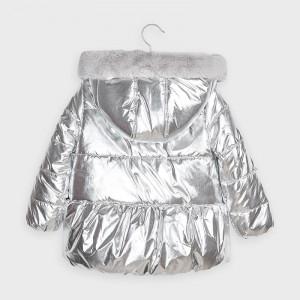 Geaca argintie cu gluga pentru fete Mayoral