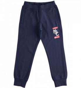 Pantalon din bumbac pentru sport, lung bleumarin, de băiat din bumbac, IDO