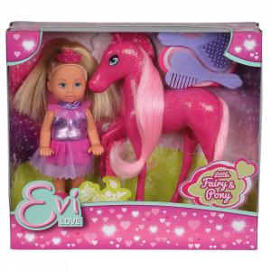 Papusa Simba Evi Love Fairy 12 cm cu ponei Pony si accesorii