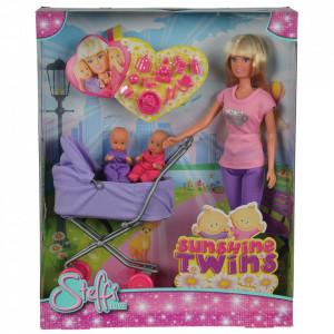 Papusa Simba Steffi Love Sunshine Twins 29 cm violet cu carucior si accesorii
