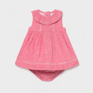 Rochie chimono roz prafuit pentru bebelusi cu volanas