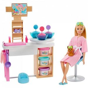 Set Barbie by Mattel Wellness and Fitness O zi la salonul Spa papusa cu figurina si accesorii