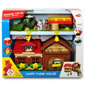 Set Dickie Toys Happy Farm House cu tractor si accesorii