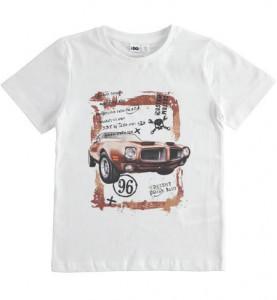 Tricou alb cu masina pe fata din bumbac Ido