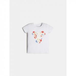 Tricou alb Guess cu logo si floricele din bumbac