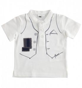 Tricou baieti Ido alb cu bleumarin cu imprimeu vestuta