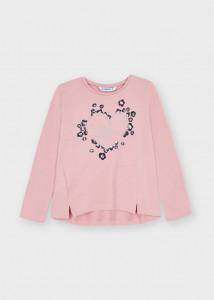 Tricou ECOFRIENDS roz mânecă lungă și cu inima aplicată, fată, Mayoral