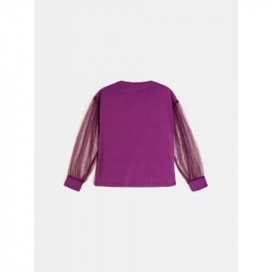 Bluză elegantă cu mâneci transparente mov, Guess