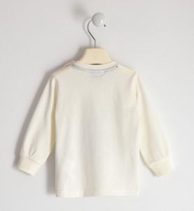 Bluza maneca lunga alba de baiat din bumbac IDO