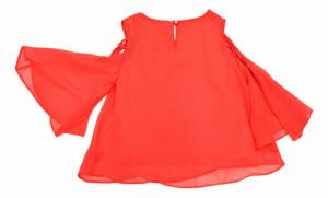 Bluza rosie din tifon cu maneca evazata