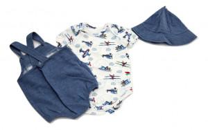 Costum bebe in 3 piese din bumbac