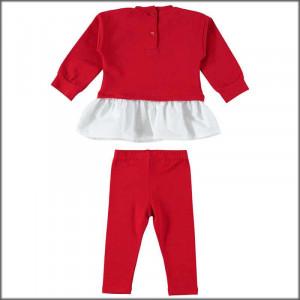 Costum rosu cu bluza si colant pentru fete IDO