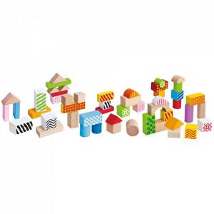 Jucarie Eichhorn Cuburi in galetusa Wooden Blocks 50 piese