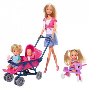 Papusa Simba Steffi Love 29 cm Baby World in bluza cu buline, cu 2 copii, 1 bebelus si accesorii