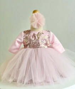 Rochiță de botez roz Emily