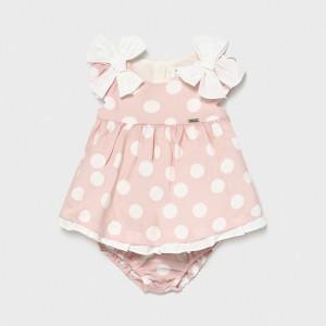 Rochita pentru fetita nou nascut roz cu buline