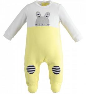 Salopetă cu galben pentru bebe nou născut cu iepuraș, IDO